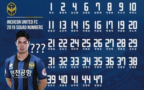 CLB Incheon United công bố danh sách cầu thủ và số áo, Công Phượng chưa góp mặt