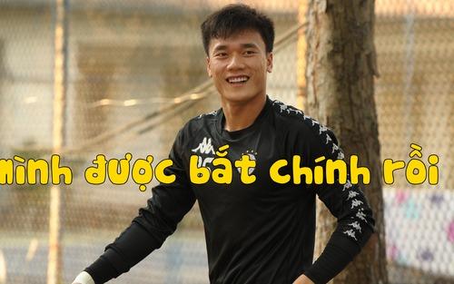 Bùi Tiến Dũng lần đầu bắt chính trong màu áo Hà Nội FC trong ngày đối đầu Đức Chinh
