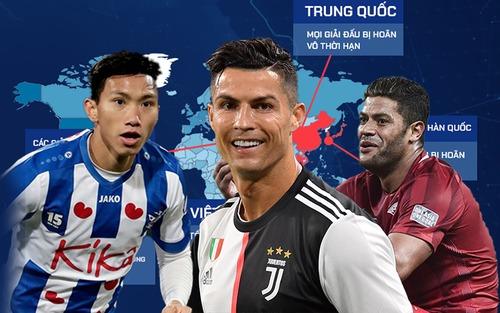 Infographic: Từ châu Á đến châu Âu, dịch Covid-19 đã khiến bóng đá chao đảo như thế nào?