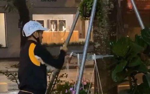Tuyển thủ Văn Quyết ra đường trồng hoa giữa trời mưa gió
