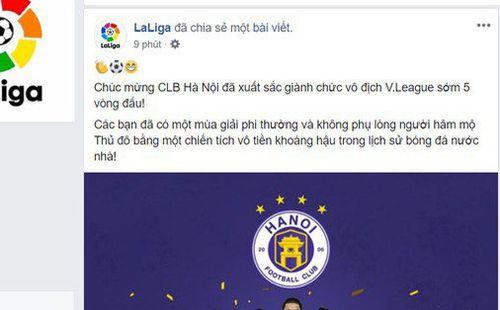 Vô địch sớm 5 vòng đấu, Hà Nội nhận lời chúc từ La Liga