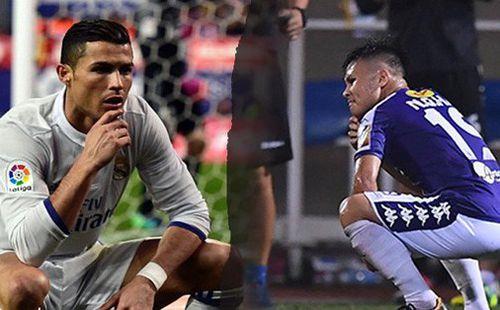 Quang Hải tái hiện màn ăn mừng ngạo nghễ của Ronaldo sau khi ghi bàn nhấn chìm Hải Phòng