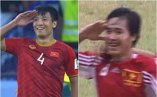 Sau 20 năm, bóng đá Việt lại tiếp tục được chứng kiến màn 'ăn mừng' trùng hợp bất ngờ giữa Tiến Dũng và danh thủ Hồng Sơn